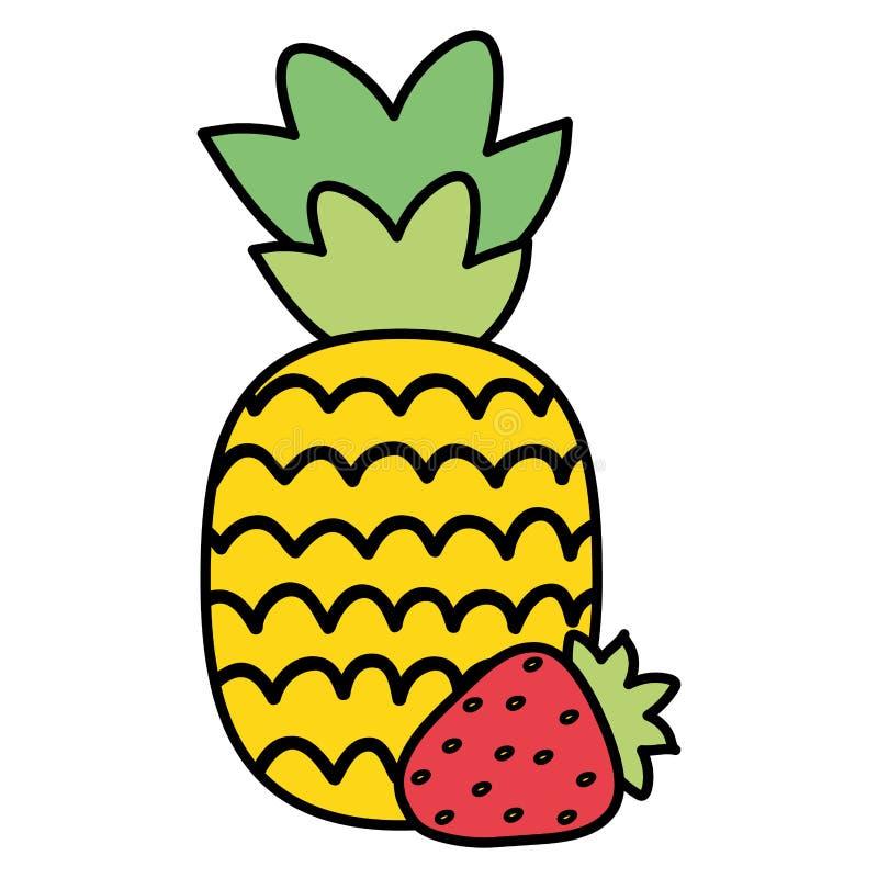 Frische Ananas mit Erdbeerfrucht-Sommerikonen stock abbildung
