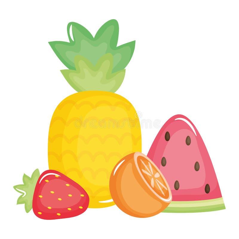 Frische Ananas mit Fruchtsommerikonen vektor abbildung
