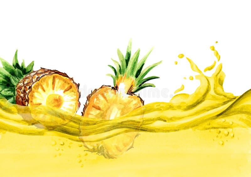 Frische Ananas trägt auf einer Welle des Ananassafts, gezeichnete Illustration des Aquarells Hand Früchte lizenzfreie abbildung