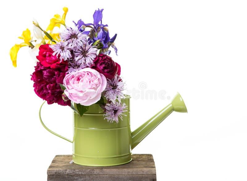 Frische ausgewählte Blumen in der Gießkanne stockfoto