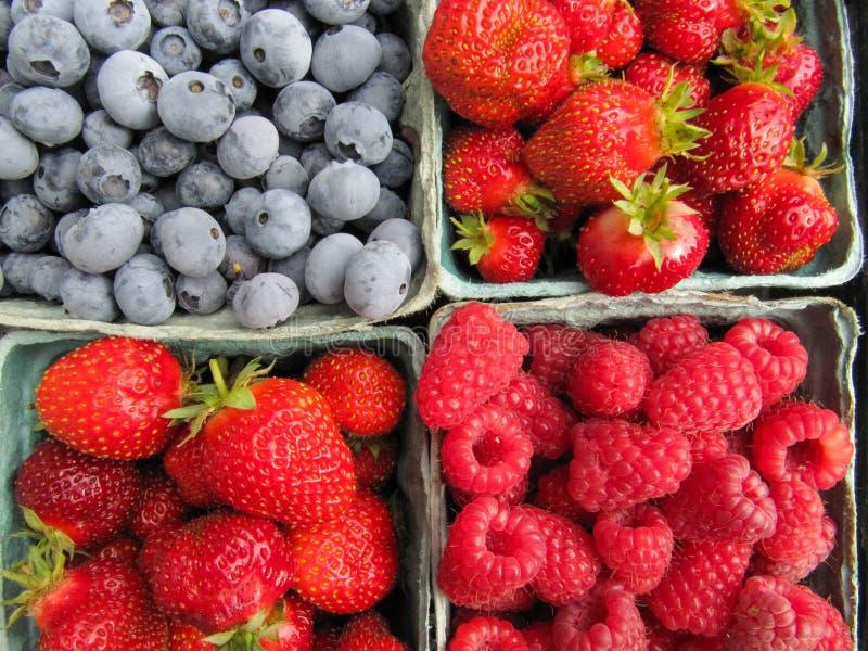 Frische ausgewählte Erdbeeren, Himbeeren und Blaubeeren stockbild