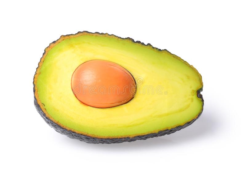 Frische Avocado getrennt auf einem weißen Hintergrund In ganzer Tiefe vom Feld mit lizenzfreie stockfotos