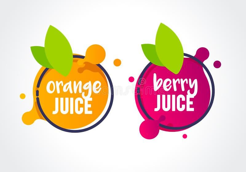 Frische Beere der Vektor-Illustration und orange Fruchtaufkleberikone gesunder Saftentwurfsaufkleber vektor abbildung