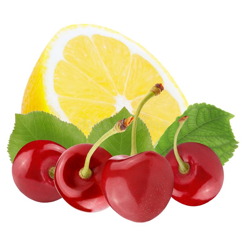 Frische Beeren mit der Zitrone lokalisiert auf weißem Hintergrund lizenzfreie stockfotografie