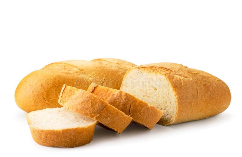 Frische Brotlaibe schnitten in der Nahaufnahme auf einem weißen Getrennt lizenzfreie stockbilder