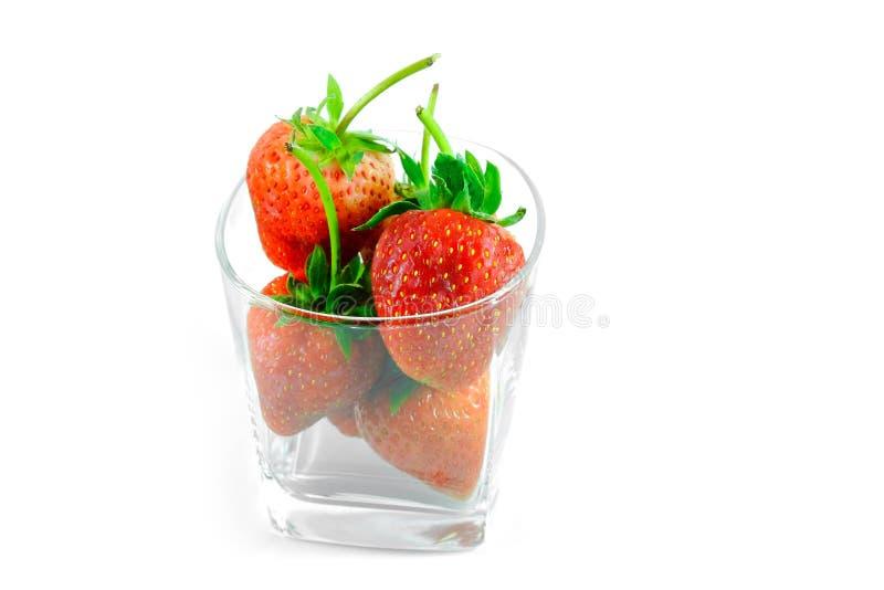 Frische Erdbeere im Glas lizenzfreie stockfotos