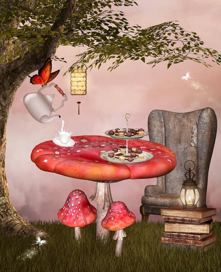 Frische Erdbeeren und Tee auf Porzellanporzellantellern stock abbildung