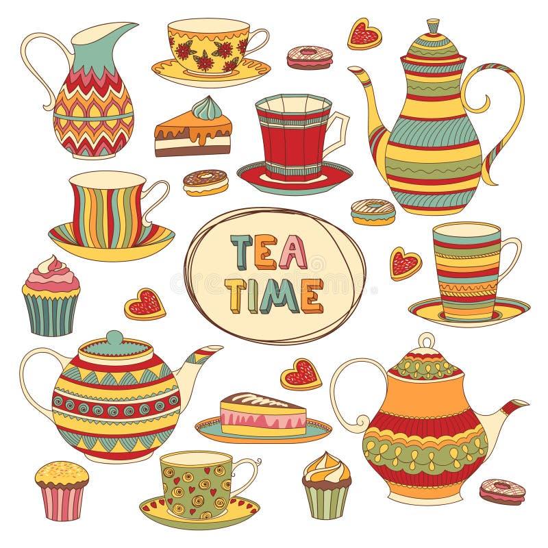 Frische Erdbeeren und Tee auf Porzellanporzellantellern vektor abbildung