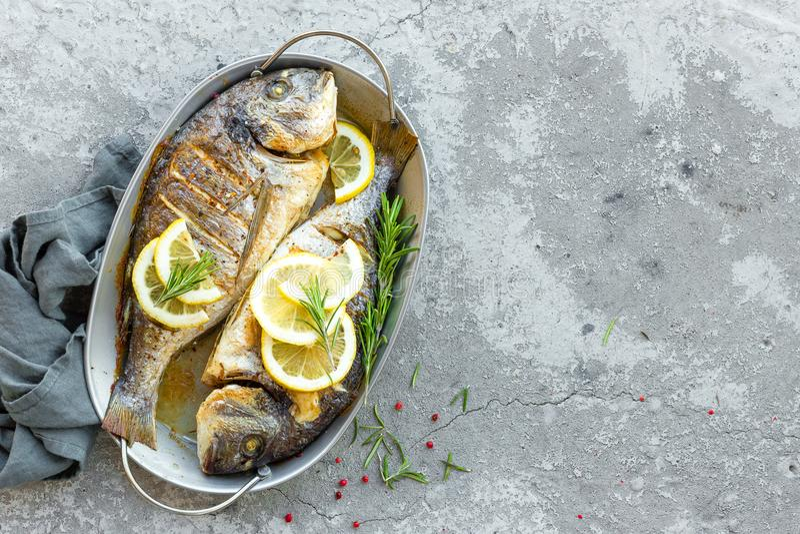 Frische Fische dorado Rohe dorado Fische mit Zitrone und Rosmarin Seebrassen oder dorada Fische lizenzfreie stockbilder