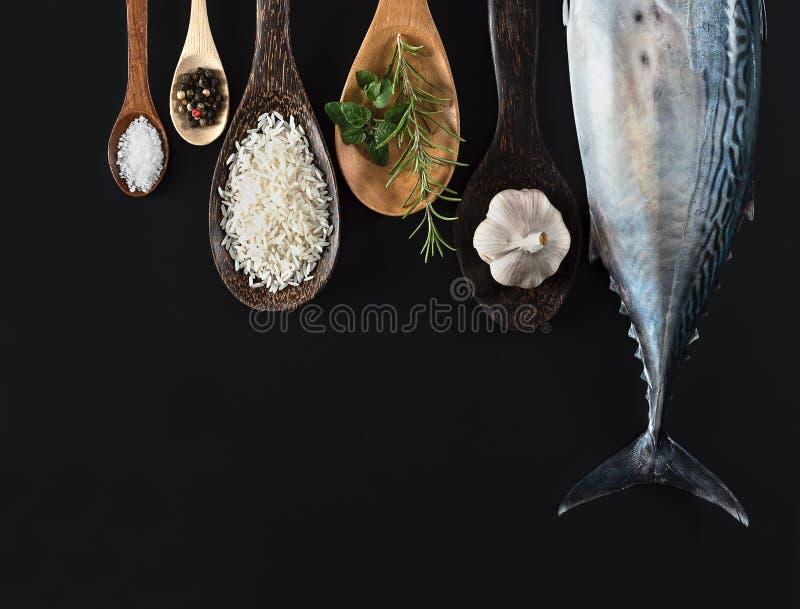 Frische Fische, Reis und Gewürze lizenzfreie stockbilder