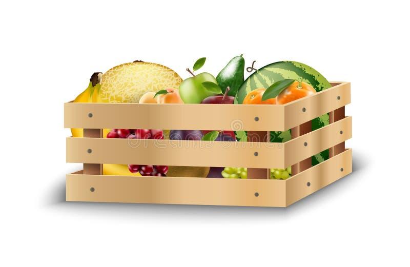 Frische Früchte in den hölzernen Kisten auf einem weißen Hintergrund stock abbildung