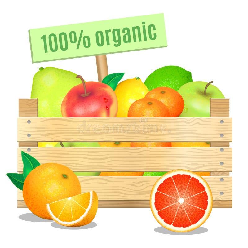 Frische Früchte in einer Holzkiste auf einem weißen Hintergrund Übersetzt Ikone vektor abbildung