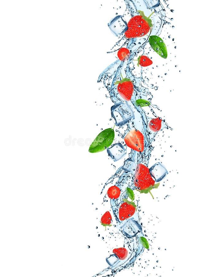 Frische Früchte mit Wasserspritzen lizenzfreie stockfotos