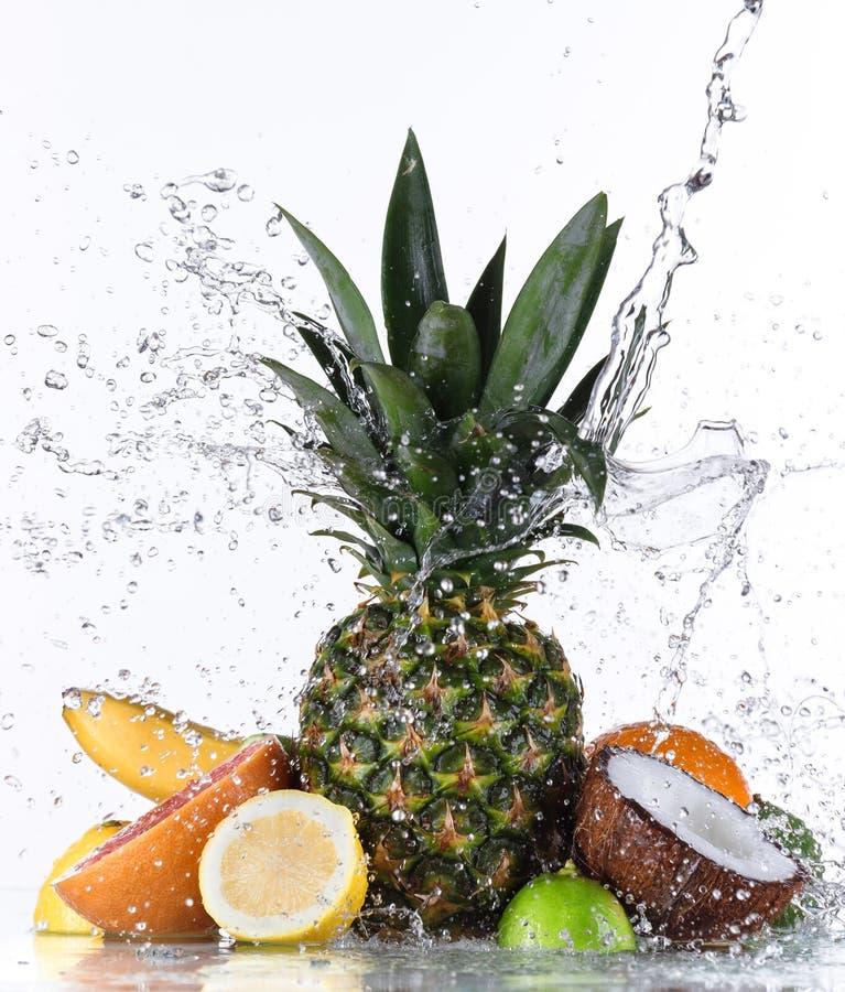 Frische Früchte mit Wasserspritzen stockfotos