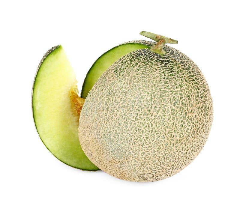 Frische Frucht der Melone lokalisiert auf einem weißen Hintergrund lizenzfreie stockfotos