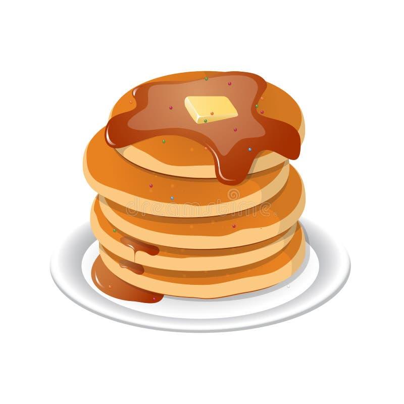Frische geschmackvolle heiße Pfannkuchen mit süßem Ahornsirup Karikaturikone lizenzfreie abbildung