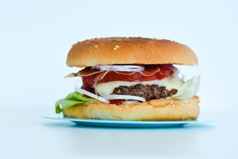Frische geschmackvolle Rindfleischburgernahaufnahme stockfotos