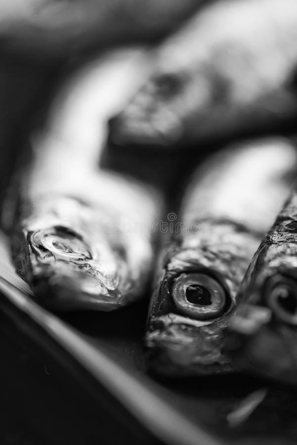 Frische geschmackvolle rohe Sprotten auf dem Servierteller Schwarzweiss stockbilder
