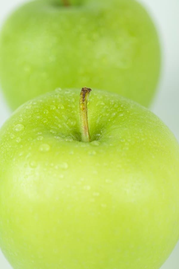 Frische grüne Apfelnahaufnahme lizenzfreie stockfotos