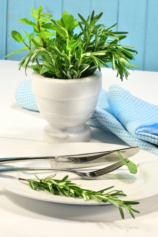 Frische grüne Kräuter auf einer Tabelle lizenzfreie stockfotos