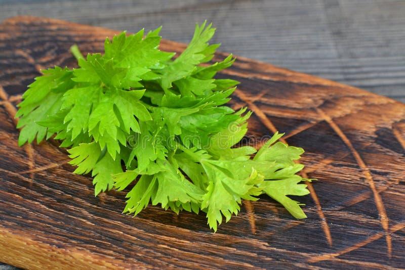Frische grüne Selleriestämme auf hölzernem rustikalem Weinleseschneidebrett Nahrung der gesunden Di?t lizenzfreies stockfoto