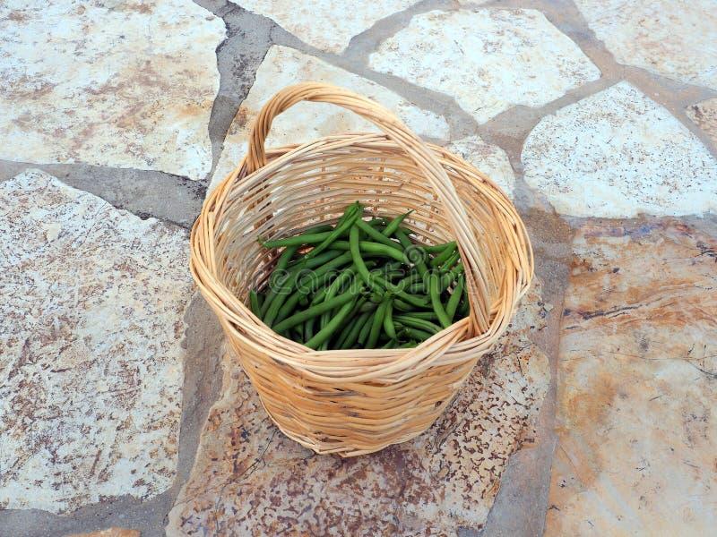Frische grüne Stangenbohnen in Cane Basket stockfotografie