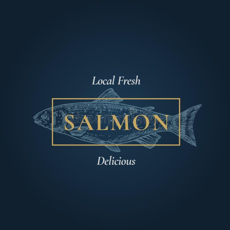 Frische köstliche Lachse Abstraktes Vektor-Zeichen, Symbol oder Logo Template Hand gezeichnete Fische mit nobler Retro- Typografi lizenzfreie abbildung