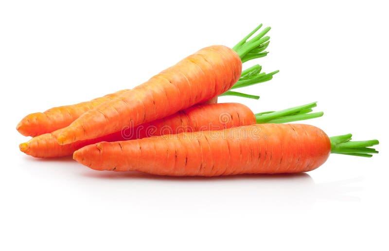 Frische Karotten auf weißem Hintergrund stockfotografie
