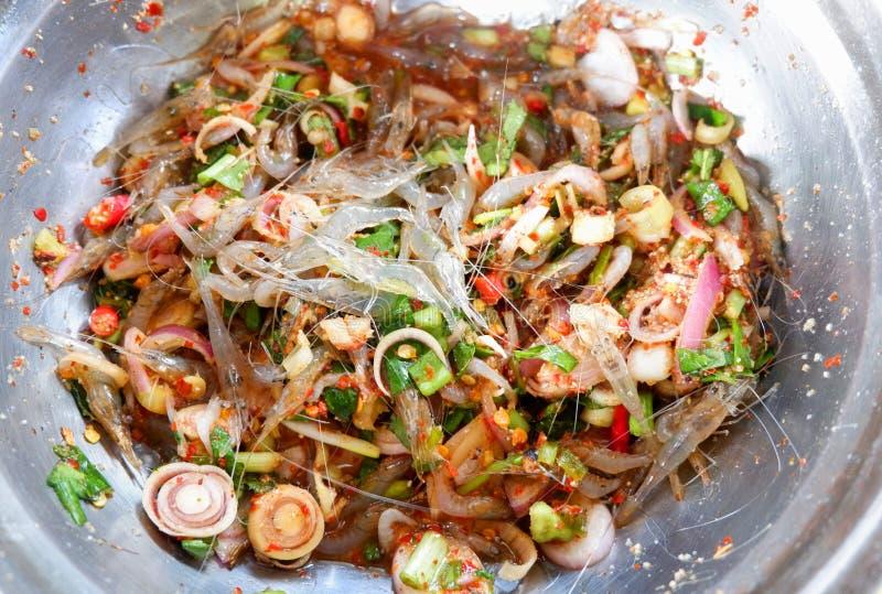 Frische kleine Garnele des Salats lizenzfreie stockfotografie