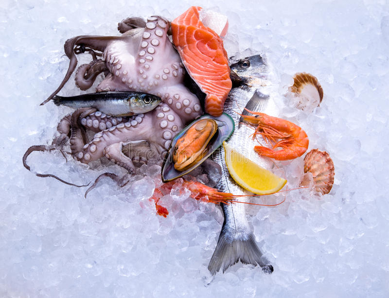 Frische Meeresfrüchte stockfotos