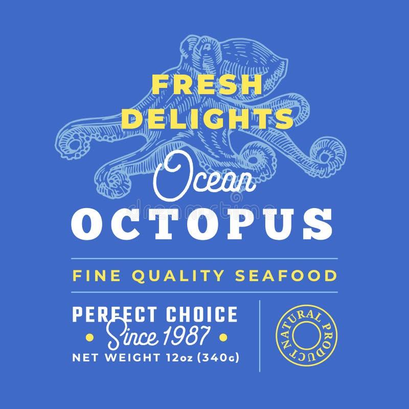 Frische Meeresfrüchte erfreuen erstklassiges Gütezeichen Abstrakter Vektor-Verpackungsgestaltungs-Plan Retro- Typografie mit Gren stock abbildung