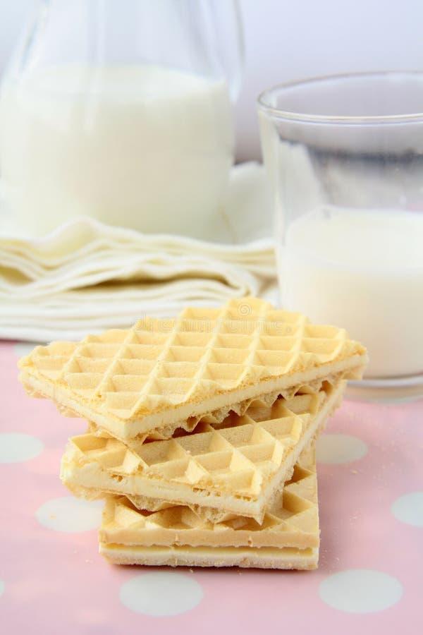 Frische Milch und Plätzchen lizenzfreie stockbilder