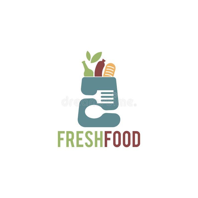 Frische Nahrungsmittellogoschablone in den Einkaufssäcken mit negativen farbigen Löffeln und Gabeln lizenzfreie abbildung