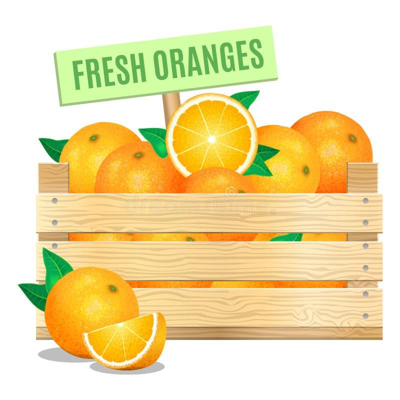 Frische Orangen in einer Holzkiste auf einem weißen Hintergrund Vektor vektor abbildung