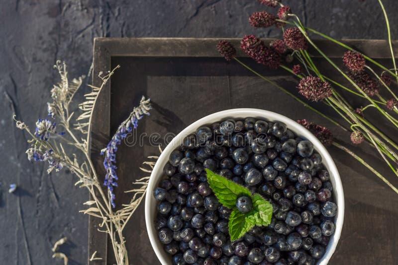 Frische organische Blaubeeren in einer Schüssel auf dunklem Hintergrund mit Kräuterabschluß oben stockbilder