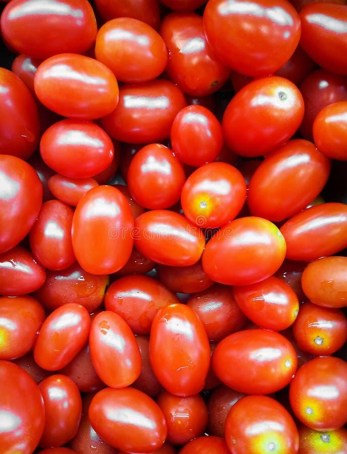 Frische organische Trauben-Tomaten in einem Salatbar stockbilder