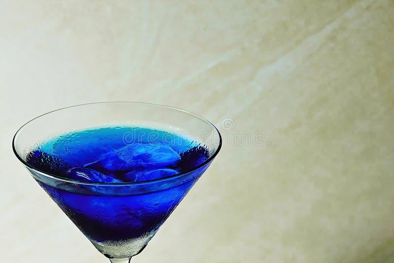 Frische purpurrote Schmetterlingserbse oder Blume und Saft der blauen Erbse im Glas auf blauem und weißem Hintergrund der Tabelle lizenzfreie stockbilder
