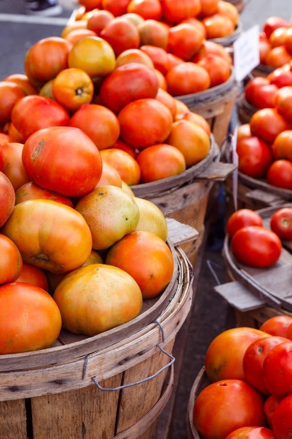 Frische reife Körbe von Tomaten an einem lokalen Markt stockfotos