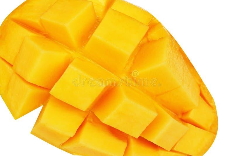 Frische reife Mango, quadratische Form lokalisiert auf weißem Hintergrund lizenzfreies stockbild