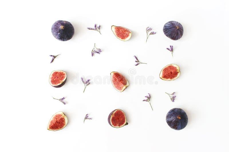 Frische reife purpurrote Feigen Lebensmittelfoto Kreative Zusammensetzung des Ganzen und geschnittenen exotischen des Frucht- und stockfotografie