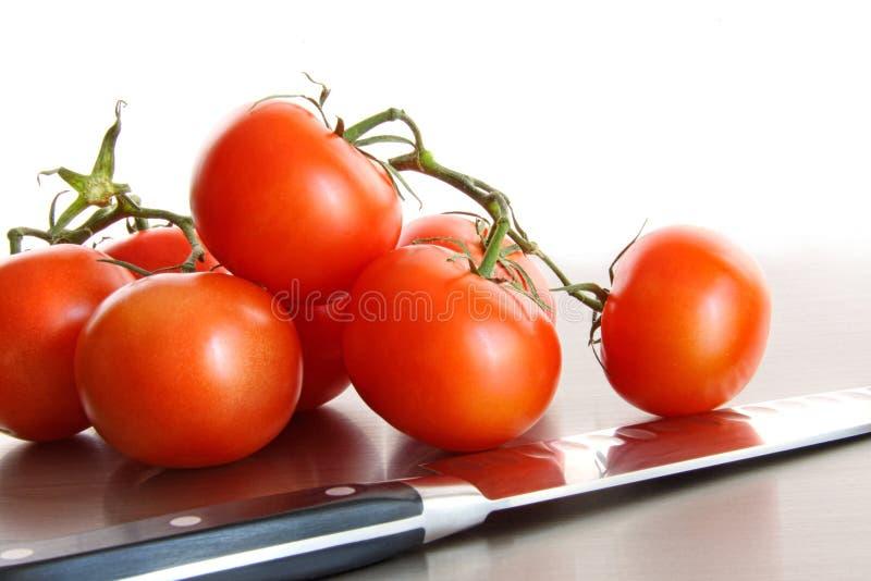 Frische reife Tomaten auf Edelstahlzählwerk stockbild