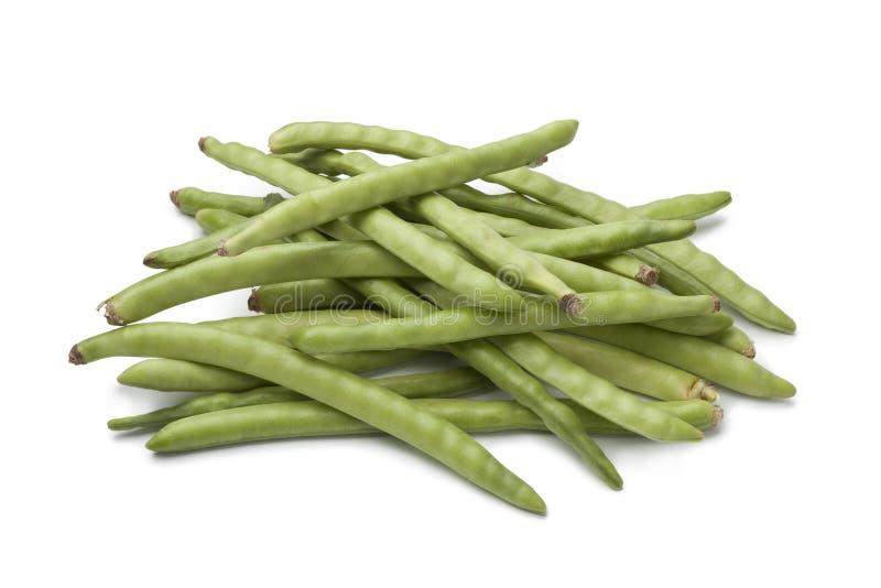 Frische rohe grüne Bohnen stockfoto