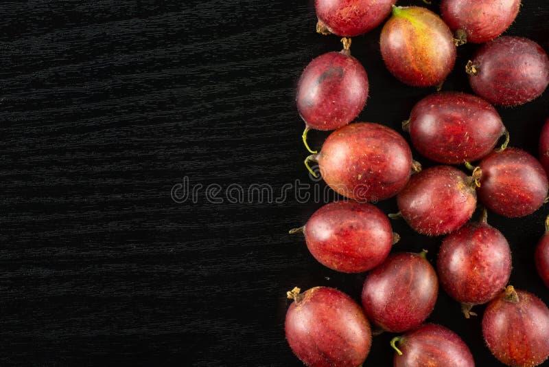 Frische rohe rote Stachelbeere auf schwarzem Holz stockfotos