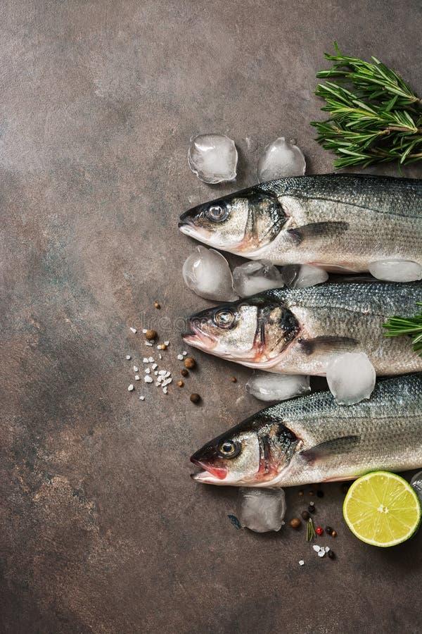 Frische rohe Seebarschfische mit Rosmarin und Kalk auf einem dunkelbraunen rustikalen Hintergrund Flache Lage, Draufsicht, Kopien lizenzfreies stockfoto