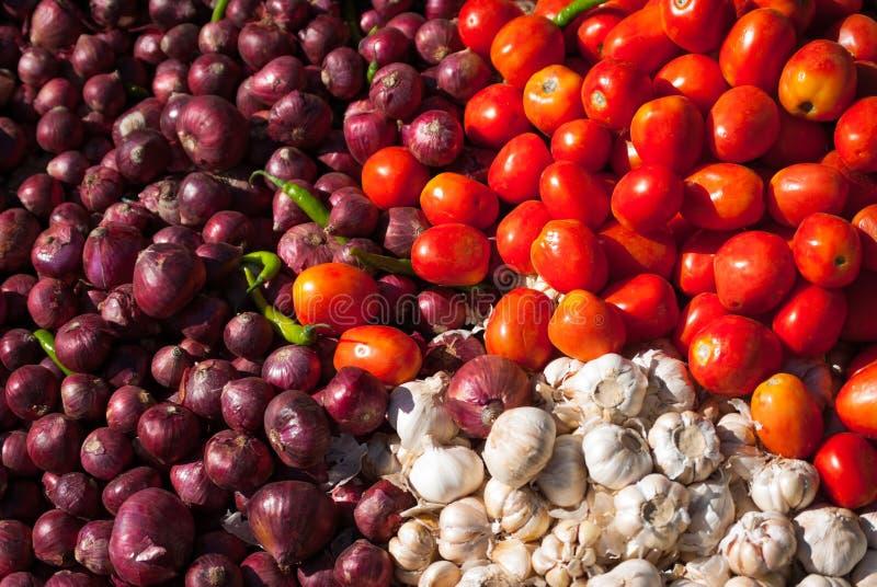 Frische Rom-Tomaten, -Gemüsezwiebeln und -knoblauch stockbild