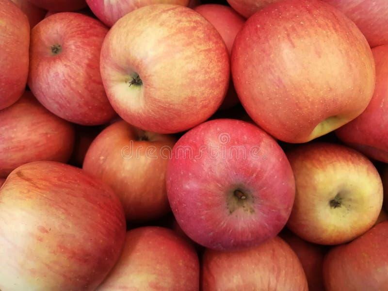 Frische rote Äpfel als Beschaffenheitshintergrund stockbild