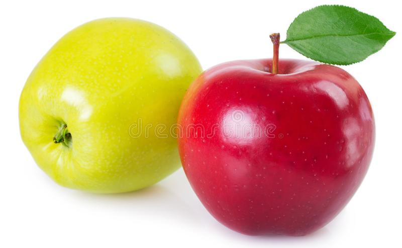 Frische rote und gelbe Äpfel auf weißem Hintergrund stockfotos