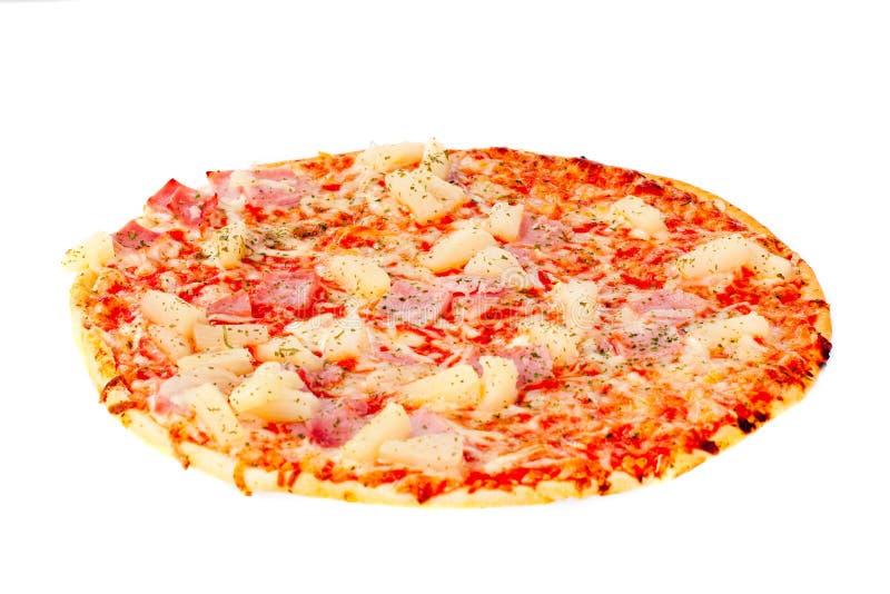 Frische runde Pizza getrennt stockfotos