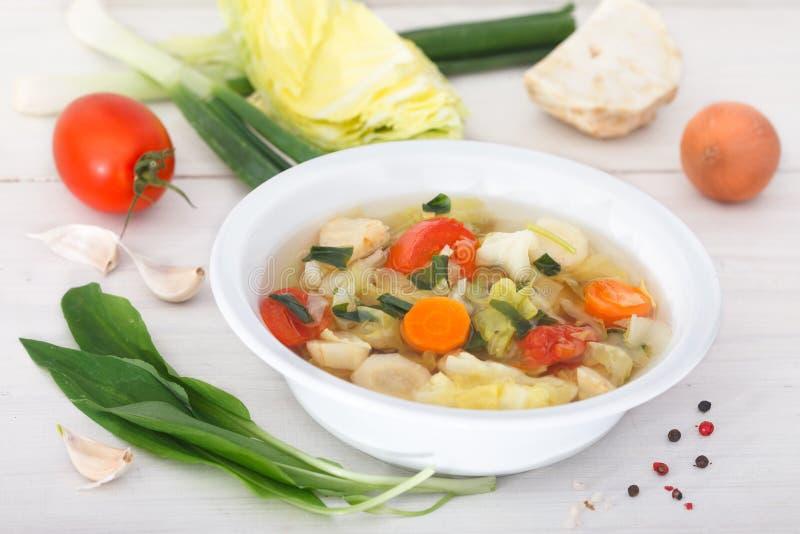 Frische selbst gemachte Gemüsesuppe mit Bestandteilen stockfoto