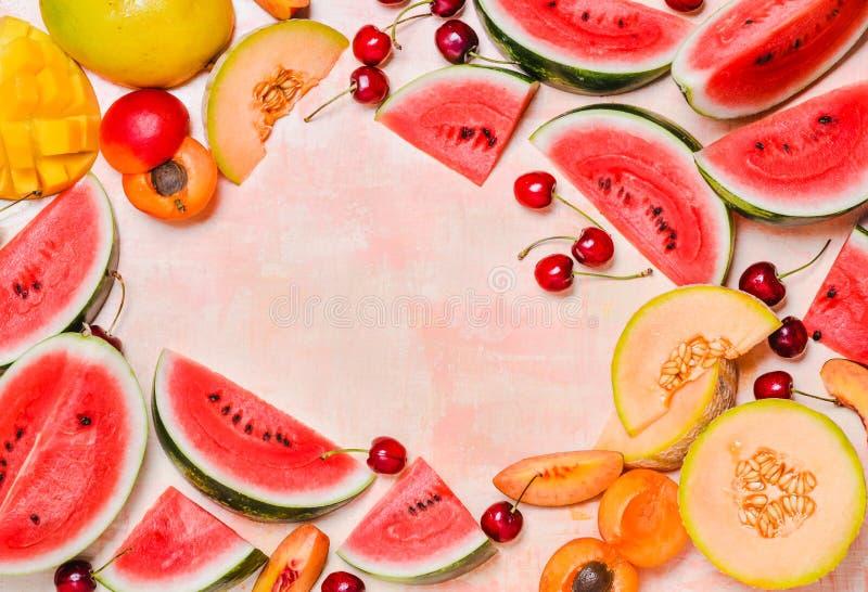 Frische Sommer-Fr?chte Trägt Scheiben, Wassermelone und Melone, Mango Früchte Ts lizenzfreie stockfotografie